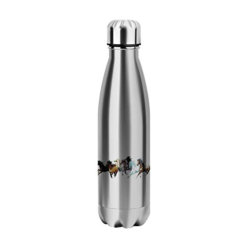 Desconocido Horses Running Free Animal Water Bottle CO314 Botella de Agua Stainless Steel Funny Insulated 500ml Thermos For Hot and Cold Sports Gym Drink Flask