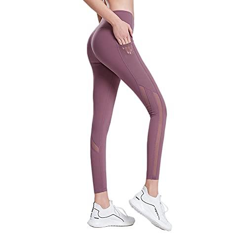 LIMESI Leggings Mujer Deporte Cintura Alta Mallas Pantalones Deportivos Leggins con Bolsillos para Yoga Running Fitness-S