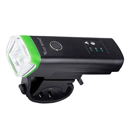 Hellery Faro de Bicicleta de Montaña Sensor Recargable T6 LED Luz Delantera de Bicicleta USB - Negro + Verde