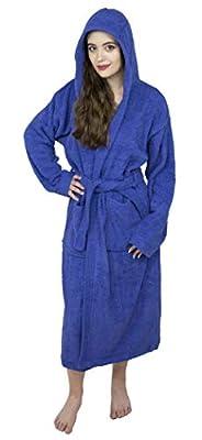 SkylineWears Women's 100% Terry Cotton Hooded Bathrobe Toweling Robe