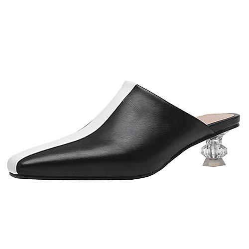 Lydee Damen Mode Kitten Heels Mules Sandalen Slip On Party Schuhe Slides Sandalen Black Gr 43