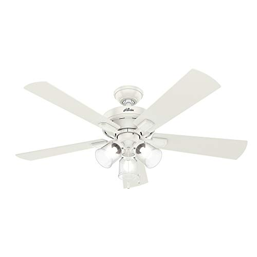 "Hunter Crestfield Indoor Ceiling Fan with LED Lights and Pull Chain Control, 52"", Fresh White"