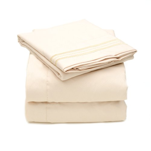 Sweet Home Collection 4 Piece 2000 12 Colors Collection Egyptian Quality Deep Pocket Bed Sheet Set, California King, Beige