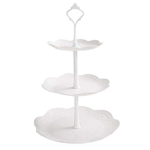Fablcrew Expositor de plástico desmontable para tartas, 3 niveles, expositor para postres, cupcakes, bombones y fruta, para bodas, fiestas, cumpleaños, plástico, Rond, 26*40CM