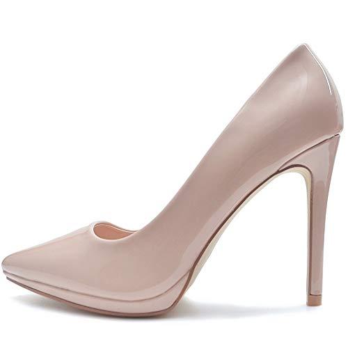 Vain Secrets Damen High Heels Stiletto Pumps Neon Lack in vielen Farben (36 EU, Nude)
