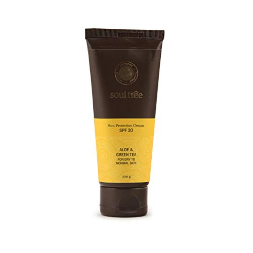 SoulTree Sun Protection Cream SPF 30, With Aloe & Green Tea, For Dry to Normal Skin, 100gm