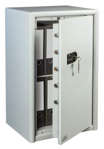 BURG-WÄCHTER Möbeltresor mit Schlüssel, Combi-Line, Sicherheitsstufe S2, Feuerschutz LFS 30 P, VdS-geprüft, 78 l, 111 kg, CL 60 S, Hellgrau