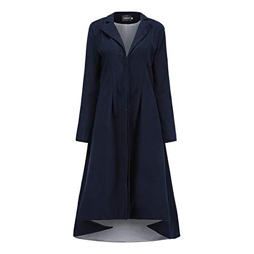 Lssing Gabardina de Lana de Lana para Mujer, Abrigo Largo de Esmoquin de Traje de Solapa-Azul Profundo_L