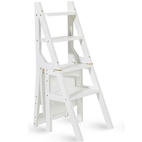Zfggd Escalera multifunción Taburete Hogar Madera Maciza IKEA Niños Silla Plegable Provincia Espacio Escalera de Cuatro escalones de Doble Uso Escalera Ascendente 40 × 46 × 90 cm (Color : White)