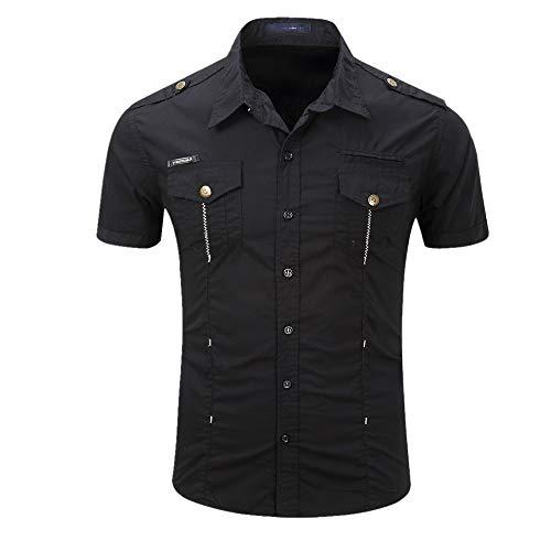 Preisvergleich Produktbild NOBRAND Herren Kurzarmhemd Outdoor Hemd Baumwolle Gr. 56,  Schwarz