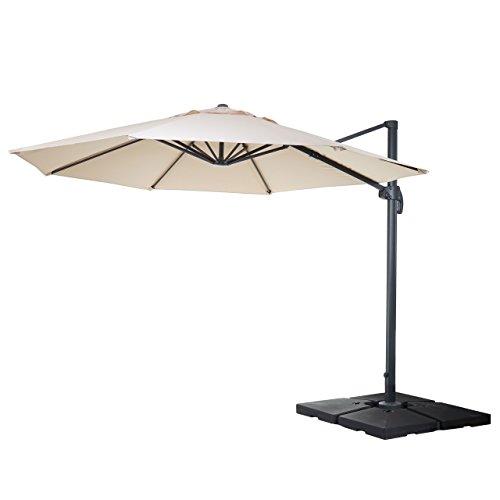 Mendler Gastronomie-Ampelschirm HWC-A96, Sonnenschirm, rund Ø 4m Polyester Alu/Stahl 27kg ~ Creme mit Ständer