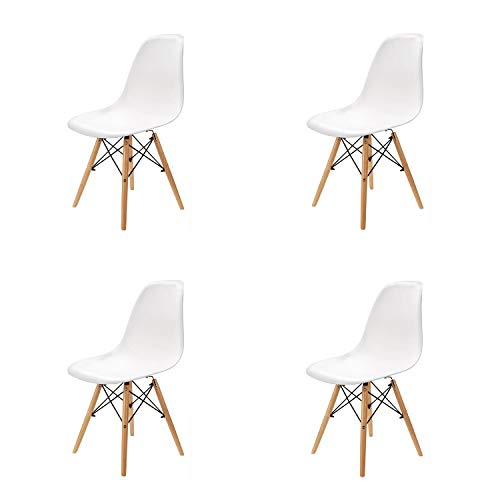 4er Set Stühle Nordischen Stil Kunststoff Wohnzimmerstuhl Holz Esszimmerstuhl Bürostuhl (Weiß)