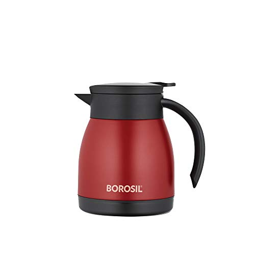 Borosil Stainless Steel Teapot- Vacuum Insulated, Red, 500ML