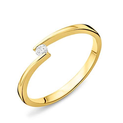 Miore - Anello da donna con solitario in oro giallo 9 carati 375 e diamanti 0,04 carati e Oro giallo, 20, cod. MGO9011R60