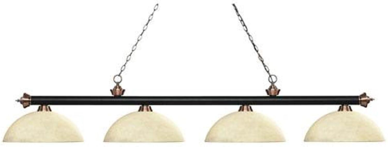 ZLite 2004MB+ACDGM14 Riviera  Four Light Billiard, Glass Options  Dome golden Mottle Glass