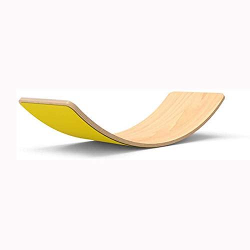 LLCX Tablero de Balance de Madera para niños, Tabla de Equilibrio con Curvas de Madera Tablero de Tablero de Tablero oscilante para niños,Amarillo