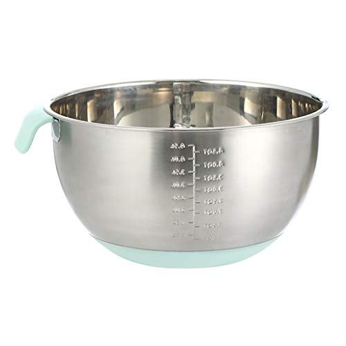 Mixing Bowls Set/Mixing Bowl Stainless Steel Non-Slip Mixing Bowls Food Storage Kitchen Bowls with Pour Spout, Handle and Silicone Bottom for Cooking Baking Serving Measurement Marks Nesting Bowl Grea