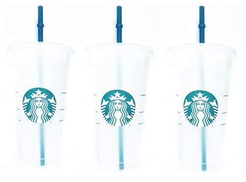 Starbucks Wiederverwendbare Trinkbecher aus Hartplastik, 680 ml, mit Deckel und grünem Strohhalm mit Deckel, 3 Stück