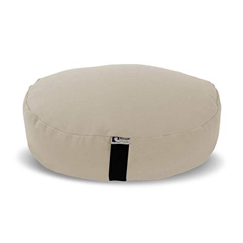 Bean Products Zafu Meditation Cushion, Oval, Cotton Natural - Filled with Organic Buckwheat