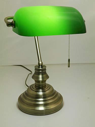 Tischleuchte Bankerslamp mit Zugschalter E27 (Höhe ca 37,5cm) Banker-Lampe Schreibtischleuchte antik messing Schirm grün Arbeitsleuchte Nachtischlampe Tischlampe antik retro Nostalgie