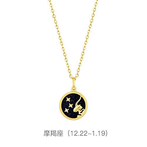 Bgpom Halskette S925 Sterling Silber Zwölf Sternbild Halskette Lila Gold Sand Halskette Schlüsselbeinkette, Steinbock