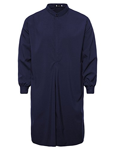 Metermall Fashion For Men Stylish Simple Male Long-style Muslim Robe Long Gown Uniform Tops Blouse Gift