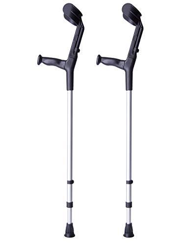 Muletas 2 uds color negro | Aluminio con doble regulación | Se regula en la caña y en el codo | Pack ahorro