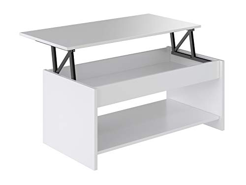 Marca Amazon - Movian Aggol Modern - Mesa de centro elevable con balda inferior, 50 x 100 x 44 cm (blanco)