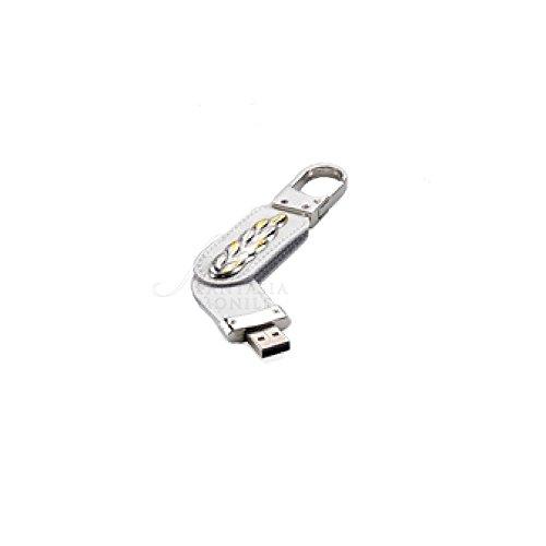 Sleutelhanger karabijnhaak logo communie met pendrive Usb 8 GB zilver 925 kunstleer wit Acca CO.9 PD