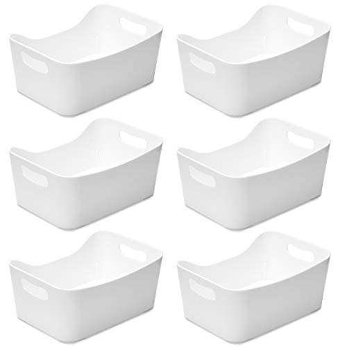 YBM HOME Open BIN Storage Basket Kitchen Pantry, Bathroom Vanity, Laundry, Health and Beauty Product Supply Organizer, Under Cabinet Caddy (Small - 6 Pack, White)