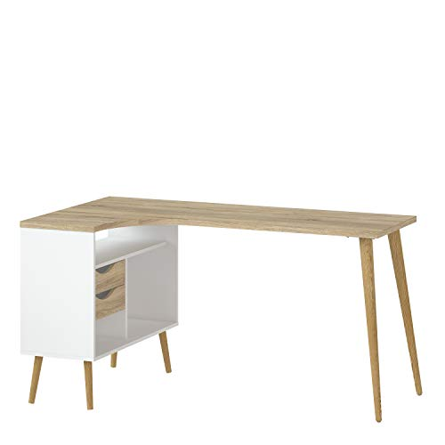 Furniture To Go | Oslo Desk 2 Drawer in White and Oak
