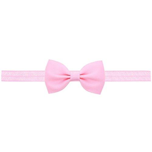 Longra mini-haarband voor baby en meisjes, met strik, elastische haarband voor baby en meisjes, accessoires, elastisch, met bloemendecoratie Roze