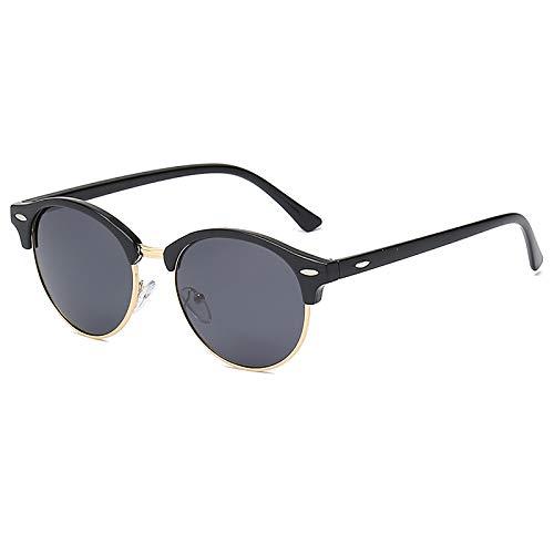 QFSLR Gafas de sol, Clásico redondo medio marco gafas de sol de los hombres, protección UV400, HD polarizado gafas de sol de las mujeres,E