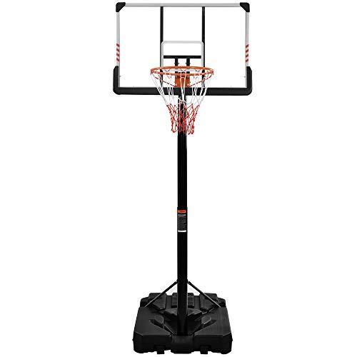 ATNR Aro de baloncesto portátil para niños, sistema de baloncesto con protector de esquina, altura ajustable de 225 a 305 cm, la base se puede llenar con agua/arena, altura ajustable