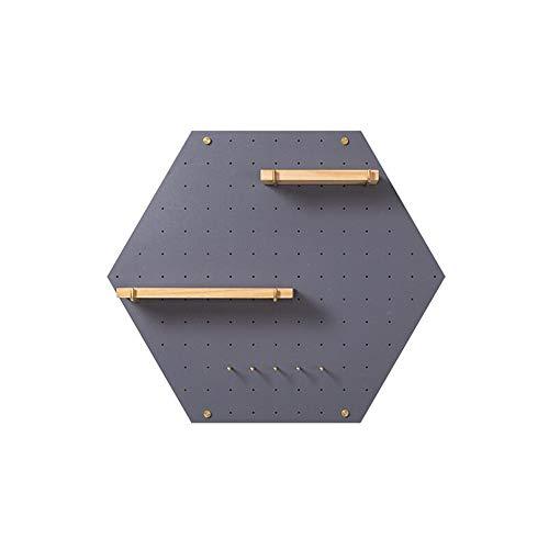 JCNFA Planken Zwevende Planken Wandmontage Zeshoekige Wandplank Houten Gat Board Onregelmatige Frame TV Achtergrond Wanddecoratie 60 * 52cm DARK GRIJS