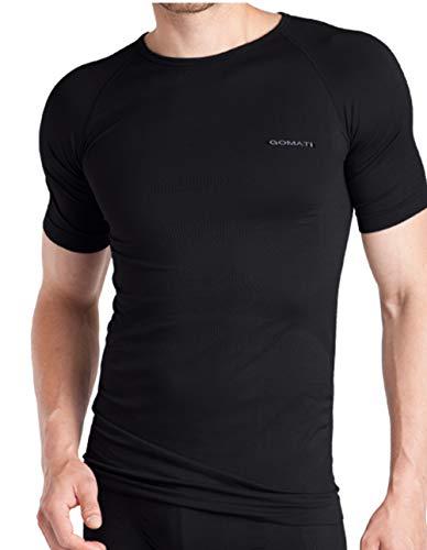 Gomati Herren Sport Wäsche-Set Funktionswäsche Kurzarm Hemd+Pants Large