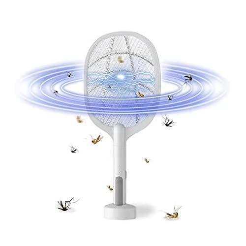 Elektrische Fliegenklatsche, 2 in 1 3000V USB Elektrisch Fliegenfänger Extra Stark,Moskito Elektrischen Insektenschröter mit UV-lichtfalle und Base, Aufladbar Strom fliegenklatsche 1200mAh Akku (Weiß)
