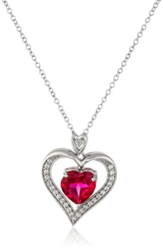 Jewelili Sterling Silver Created Ruby Heart with Created White Sapphire Pendant Necklace, 18'