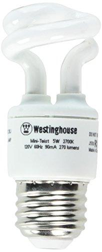 Westinghouse Lighting 3667000, 5 Watt CFL Light Bulb, (25W Equal) 2700K Soft White 82 CRI 270 Lumens