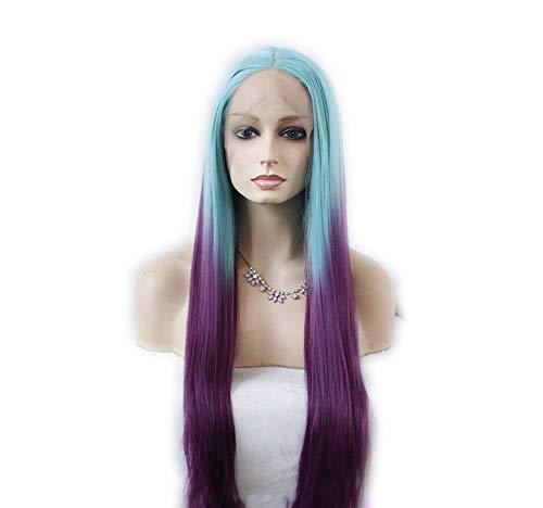 Perruques européennes et américaines résistant aux températures élevées Split droite bleu dégradé profond violet foncé dentelle semi-manuel perruque Fashion haute température soie perruque s