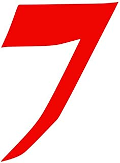 Set of 3 - Number 7 Style #56 Color: Seven Decal Sticker Color: red- Peel and Stick Vinyl Sticker