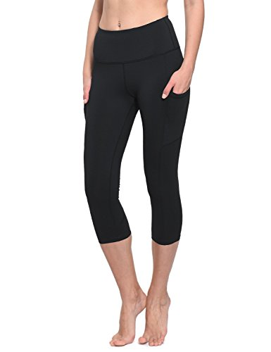 BALEAF Women's Workout Yoga High Waist Capris Pocketed Cropped Leggings 3/4 Exercise Athletic Tights Black Size M