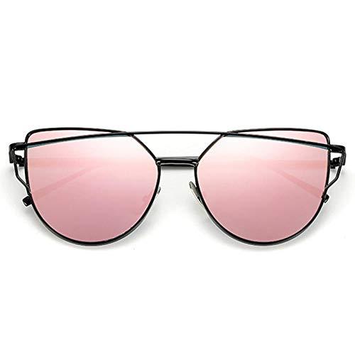 chuanglanja Gafas De Sol Mujer Joven Gafas De Sol Para Mujer Gafas De Ojo De Gato Reflectantes De Metal Vintage Para Mujer Espejo Retro-Color-K