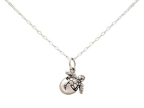 Gemshine Maritim Nautics Halskette mit Baby Schildkröte aus 925 Silber, hochwertig vergoldet oder rose im Navy Stil - Qualitätsvoller Schmuck Made in Madrid, Spain, Metall Farbe:Silber