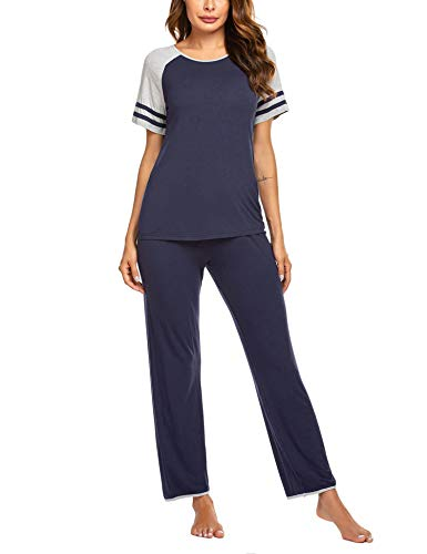 Ekouaer Sleepwear for Women Pj Set Soft Pajama Sets Short Sleeve Pajama Lounge Sets Navy XXL