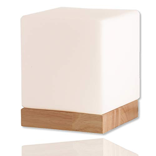 Felix Glass Square Table Lamp - Bedside Lamp - Nightstand Lamp - Small Lamp - Glass Cube Accent Lamp - Glass Shade with Natural Wooden Base