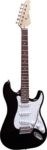 Vision Sound ST5BK - Chitarra elettricacon corpo in legno massiccio,pickup bianco e cavo, colore nero