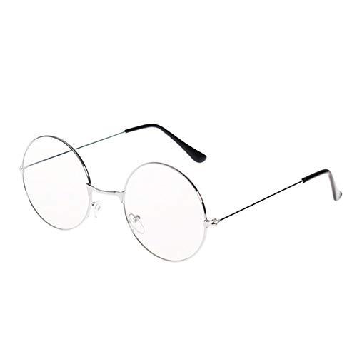 Marco de la lente clara de la vendimia de las mujeres de los vidrios del empollón del friki Gafas retro del metal de las lentes de gran tamaño Negro Ronda de ojo de vidrios del círculo Gafas de sol