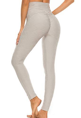 FITTOO Leggings Mallas Mujer Pantalones Deportivos Yoga Alta Cintura Elásticos y Transpirables1500#3 Gris Claro Mediana