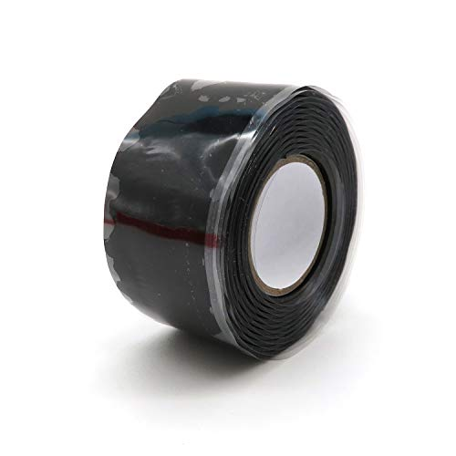 Selbstverschmelzendes Lengon-Gummiband, 0,5 mm hochtemperaturbeständiges, isolierendes Silikonband, industrielles Selbstklebeband, Rohr-Einsteckband, Stop-Leak-Band für Hausleitungskabel (schwarz)
